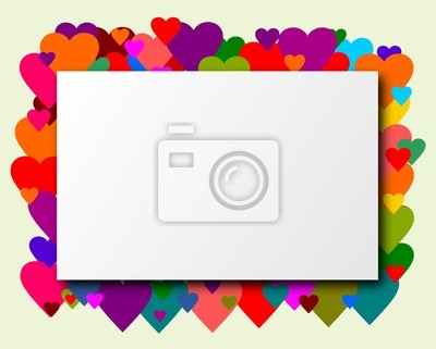 Rectangle with hearts as a background