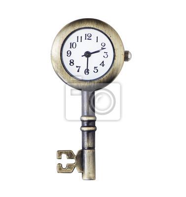 Reloj y clave de objeto concepto partido