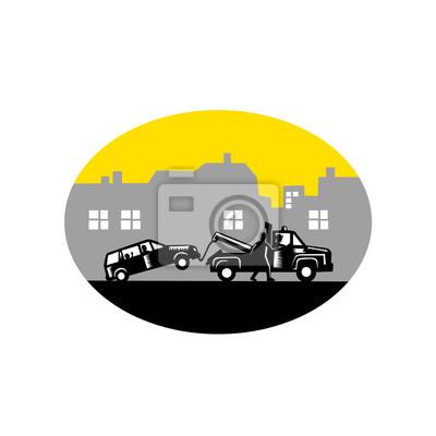 Remolque de camiones de remolque Edificios de coches Oval Woodcut