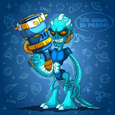 Póster Rencoroso alienígena Space Invader con los brazos