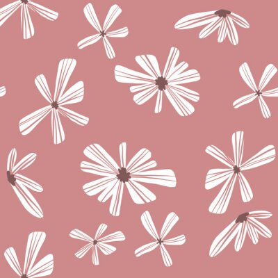 Póster Repeat Abstract Geometric Flower Pattern with pink background. Seamless floral pattern. Stylish repeating texture.