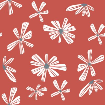 Póster Repeat Abstract Geometric Flower Pattern with red background. Seamless floral pattern. Stylish repeating texture.