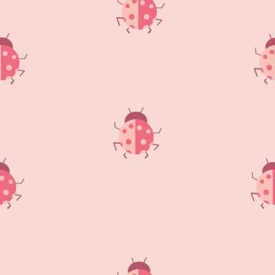 Póster Repeat Daisy Flower and ladybug Pattern with pink background. Seamless floral pattern. Stylish repeating texture.