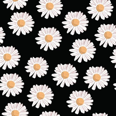 Póster Repeat Daisy Flower Pattern with black background. Seamless floral pattern. Stylish repeating texture.
