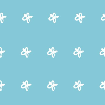 Póster Repeat Daisy Flower Pattern with blue background. Seamless floral pattern. Stylish repeating texture.