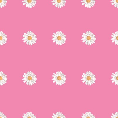 Póster Repeat Daisy Flower Pattern with pink background. Seamless floral pattern. Stylish repeating texture.
