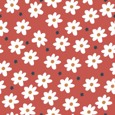 Póster Repeat Daisy Pattern with orange red background. Seamless floral pattern. White Daisy. Stylish repeating texture. Repeating texture.