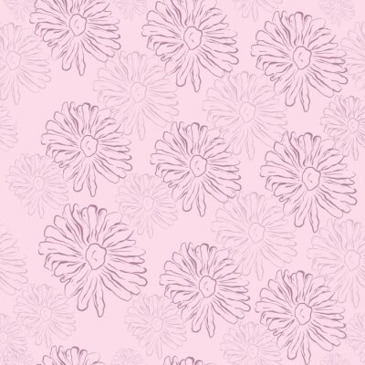 Póster Repeat Daisy Wildflower Pattern with light pink background. Seamless floral pattern. blue Daisy. Stylish repeating texture. Repeating texture.