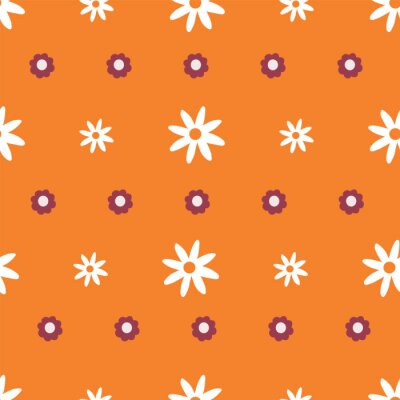Póster Repeat Daisy wildflower Pattern with orange background. Seamless vector floral pattern. Stylish repeating texture.