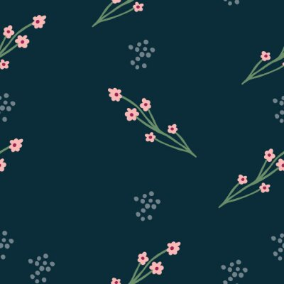 Póster Repeat flower Pattern. Navy Blue background. Pink simple Flowers. Seamless floral pattern. Stylish repeating texture. Repeating texture.