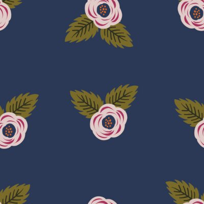 Póster Repeat flower Pattern. Navy Blue background. Pink stylized roses Flowers. Seamless floral retro pattern. Stylish repeating texture.