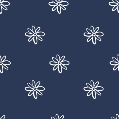 Póster Repeat flower Pattern. Navy Blue background. White Daisies. Seamless floral simple pattern. Stylish repeating flower texture.