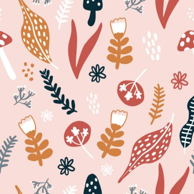 Póster Repeat Forest Wildflower Pattern with light pink background. Seamless floral pattern. Stylish repeating texture. Repeating texture.