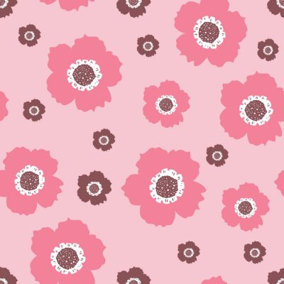 Póster Repeat Vintage Flower Pattern with light pink background. Seamless floral pattern. Pink and Purple. Stylish repeating texture. Repeating texture.