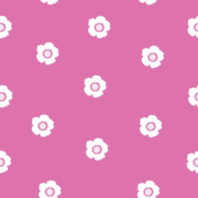 Póster Repeat Vintage Flower Pattern with pink background. Seamless floral pattern. Pink and White. Stylish repeating texture.