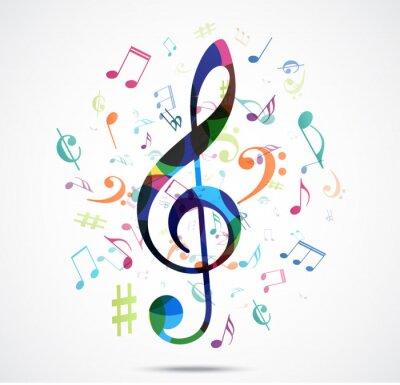 Póster Resumen de fondo notas de la música colorida