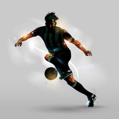 Póster Resumen de fútbol corriendo con la pelota