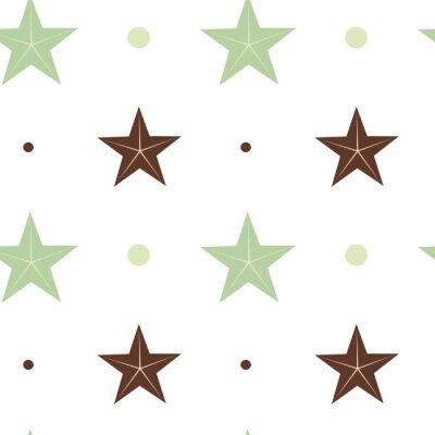 Póster Resumen estrellas verde y marrón sin fisuras patrón de fondo ilustración en colores escandinavos