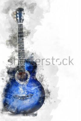 Póster Resumen hermosa guitarra en primer plano, fondo de acuarela y pincel de ilustración digital para arte.