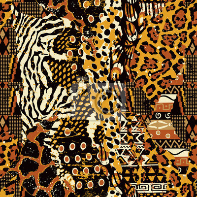 Resumen mosaico de tela africana tradicional y pieles de animales salvajes vector de patrones sin fisuras