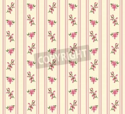 Póster Retro a rayas rosa transparente en estilo pueblo