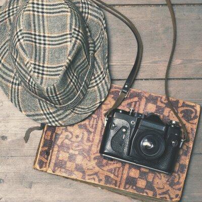 Póster Retro, cámara, vendimia, trilby, sombrero, foto, álbum, madera, b