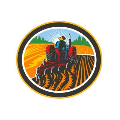 Retro illustration of a farmer worker driving a vintage tractor plowing farm or field viewed from rear set inside oval shape done in woodcut style on isolated background in full color.
