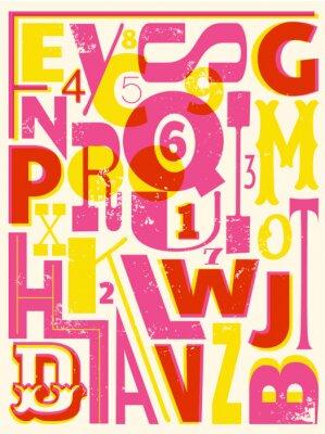 Póster Retro Letras y números