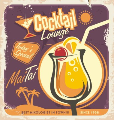 Póster Retro poster design for one of the most popular cocktails