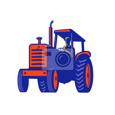 Retro style illustration of a vintage farm tractor viewed from front on low angle on isolated background.