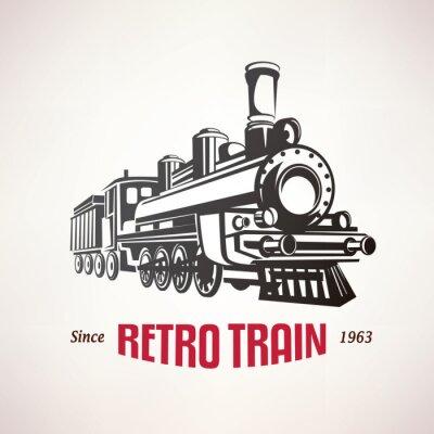 Póster Retro, tren, vendimia, vector, símbolo, emblema, etiqueta, plantilla