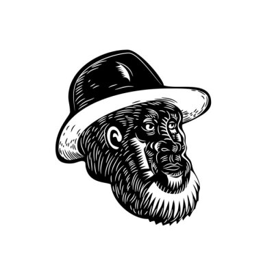 Retro woodcut style illustration of head of an old farmer with beard and wearing hat looking to side on isolated background done in black and white.