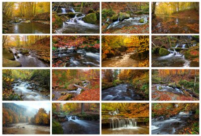 Río de montaña en otoño