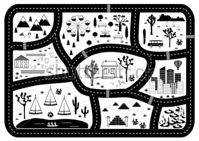 Póster Road, Mountains and Woods Adventure Map. Kids play carpet or poster with native americans tribal elements. Trendy black and white Scandinavian Style. Vector illustration
