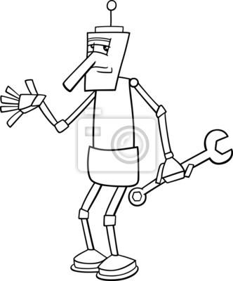 Robot Con Llave Para Colorear Carteles Para La Pared