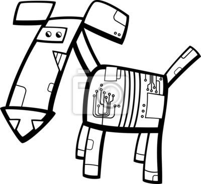 Póster Robot Perro Para Colorear De Dibujos Animados