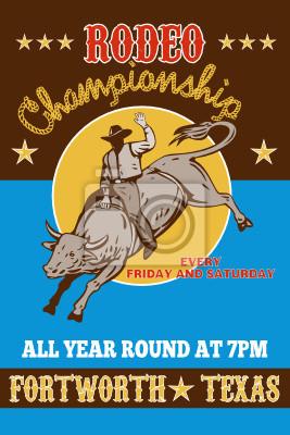 Rodeo Cowboy cartel monta de toros