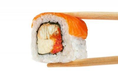 Póster Rollos de sushi con salmón, anguila, caviar y queso philadelphia. Ch