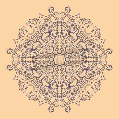 Póster Ronda ornamental patrón de encaje floral. patrón floral caleidoscópico, mandala.
