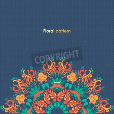 Póster Ronda ornamental patrón de encaje floral patrón floral caleidoscópico, mandala