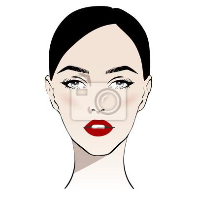 Póster Rostro de mujer hermosa con maquillaje clásico y labios rojos ilustración de vector dibujado a mano. Elegante retrato de gráficos originales con modelo de niña. Moda, estilo, belleza. Gráfico, dibujo