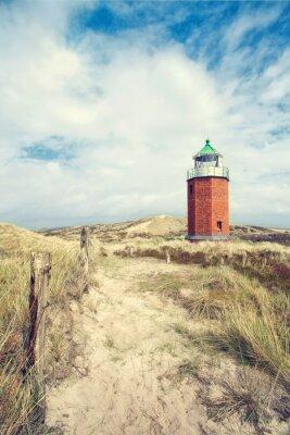 Póster roter Leuchtturm in den Dünen