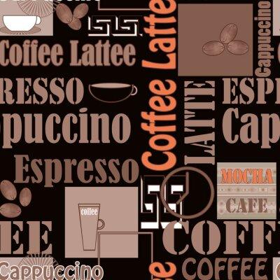 Póster Rotulación de café y los iconos de fondo transparente patrón sin fisuras