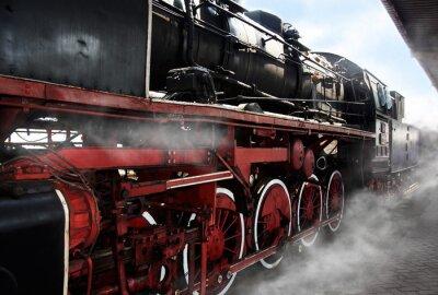 Póster Ruedas de locomotoras antiguas