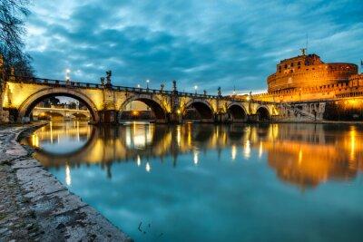 Póster S. Angelo puente y el castillo, Roma, Italia