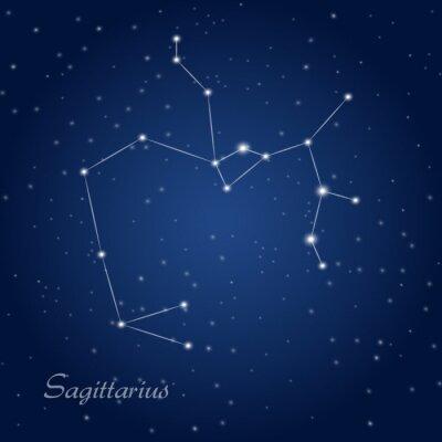 Póster Sagittarius constellation zodiac sign at starry night sky