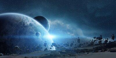 Póster Salida del sol sobre el planeta Tierra en el espacio