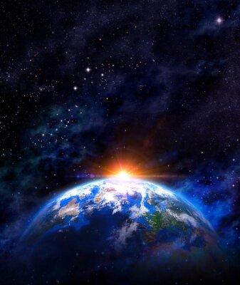 Póster salida del sol sobre la tierra en el espacio exterior