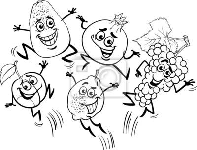 Saltar Frutos Libro Para Colorear De Dibujos Animados Carteles Para