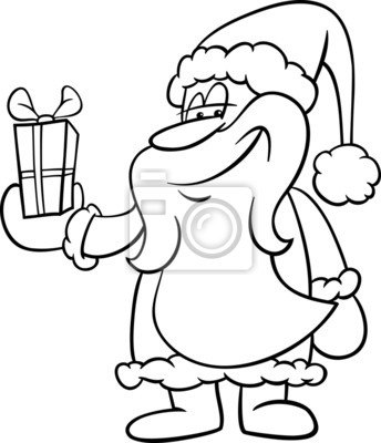 Santa con libro para colorear de regalo carteles para la pared ...